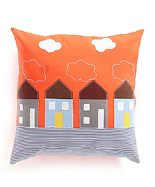 My Gift Booth Cushion Cover House Patch - Orange