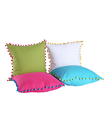My Gift Booth Cushion Cover Pom Pom Design Pack Of 4 - Multi Color