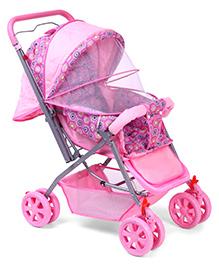 Baby Stroller Cum Pram With Mosquito Net Pentagon Print - Pink