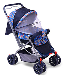 Baby Stroller Cum Pram With Mosquito Net Bear Print - Navy