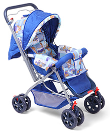 Animal Print Baby Stroller Cum Pram - Blue