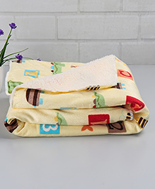 Babyhug Baby Blanket Numbers & Alphabet Print - Light Yellow White