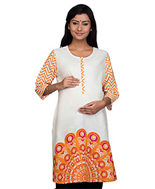 Kriti Three Fourth Sleeves Printed Maternity Nursing Kurti -  Off White Orange
