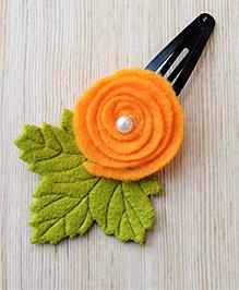 Pretty Ponytails India Tricolor Hair Rose Flower Clip - Saffron Orange Green & White