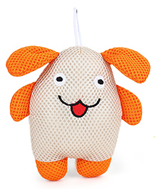 Doggy Shaped Baby Bath Sponge - Off White Orange