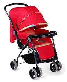 Baby Stripe Pram Cum Stroller With Canopy - Red