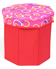 Octagon Shaped Foldable Storage Box With Cover - Pink Red