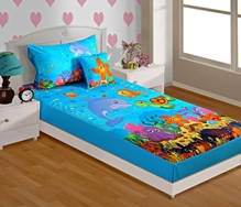 Swayam - Digital Aqua Print Baby Bed sheet With 1 Pillow Cover
