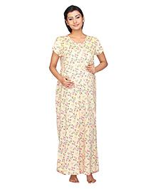 Kriti Half Sleeves Maternity Nighty Floral Print - Light Yellow