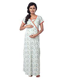 Kriti Half Sleeves Nursing Nighty Floral Print - Green & Orange