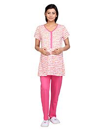 Kriti Half Sleeves Maternity Nursing Top And Pajama - White Pink
