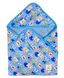 Ole Baby Hooded Fur Blanket Teddy Bear Print - Blue