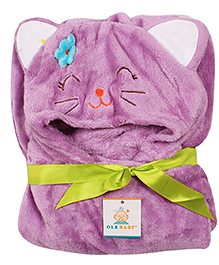Ole Baby Mink Hooded Blanket Kitty Design - Purple