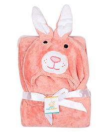 Ole Baby Mink Hooded Blanket Bunny Design - Peach