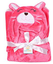 Ole Baby Mink Hooded Blanket Kitty Design - Pink