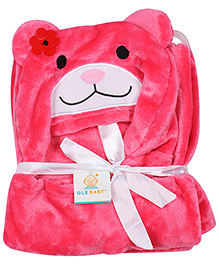 Ole Baby Mink Hooded Blanket Teddy Design - Pink