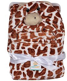 Ole Baby Mink Hooded Blanket Giraffe Design - Brown