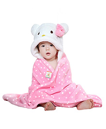 Ole Baby Mink Hooded Blanket Kitty Design - Pink