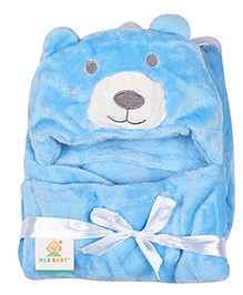 Ole Baby Mink Hooded Blanket Bear Design - Blue