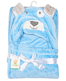 Ole Baby Mink Hooded Blanket Animal Design - Blue