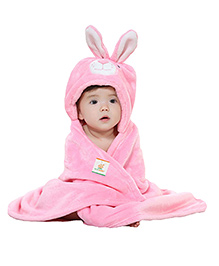 Ole Baby Mink Hooded Blanket Bunny Design - Pink