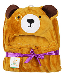 Ole Baby Mink Hooded Blanket Bear Design - Brown