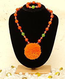 D'chica Chic Pom Pom Jewelry Set - Orange