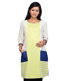 Kriti Three Fourth Sleeves Maternity Nursing Kurti With Pockets - Off White