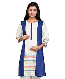 Kriti Three Fourth Sleeves Maternity Nursing Kurti - White Blue