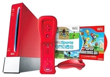 Nintendo - Wii Red Console With 5 in 1 Sports Game And Wii New Super Mario Bros Game