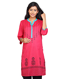 Kriti Printed Three Fourth Sleeves Maternity Nursing Kurti - Pink