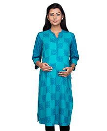 Kriti Three Fourth Sleeves Maternity Nursing Kurti - Blue