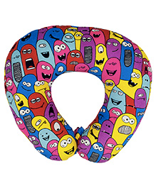 The Crazy Me Travel Neck Pillow Monsters Pattern Medium - Multicolor