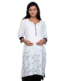 Kriti Three Fourth Sleeves Maternity Nursing Kurti - White Black