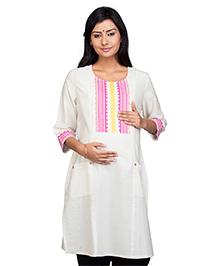 Kriti Three Fourth Sleeves Maternity Nursing Kurti - Off White