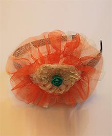 Many Frocks & Tricolor Net Flower Hairband - Orange