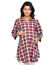 Kriti Three Fourth Sleeves Maternity Check Tunic - Red