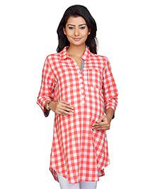 Kriti Three Fourth Sleeves Maternity Check Tunic - Peach