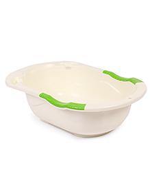 Plastic Baby Bath Tub Teddy Bear Print - Cream & Pink