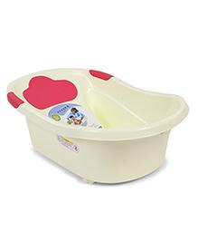 Plastic Baby Bath Tub Baby Bear Print - Cream & Pink