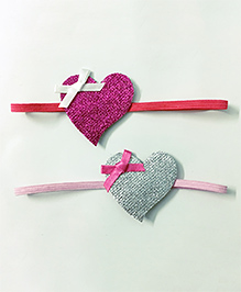 Knotty Ribbons Set Of 2 Heart Head Bands -  Pink & Silver