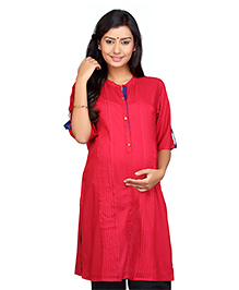 Kriti Solid Colour Three Fourth Sleeves Maternity Nursing Kurti - Pink