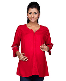 Kriti Three Fourth Sleeves Maternity Nursing Rayon Tunic - Red