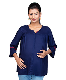Kriti Three Fourth Sleeves Maternity Nursing Tunic Top - Blue