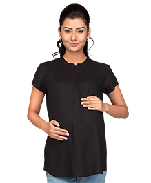 Kriti Half Sleeves Nursing Top - Black