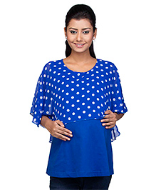 Kriti Half Sleeves Maternity Nursing Top Polka Dot Print - Blue