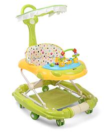 Polka Dots Print Baby Musical Walker Cum Rocker - Green Orange