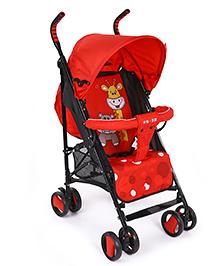 Lightweight Baby Stroller Cum Pram Animal Print - Red