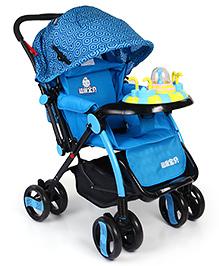 Baby Pram Cum Stroller With Play Tray - Royal Blue