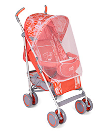 Lightweight Baby Stroller Cum Pram With Mosquito Net Numerical Print - Red